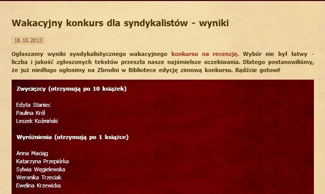 Wakacyjny konkurs dla syndykalistów - wyniki - 2013r